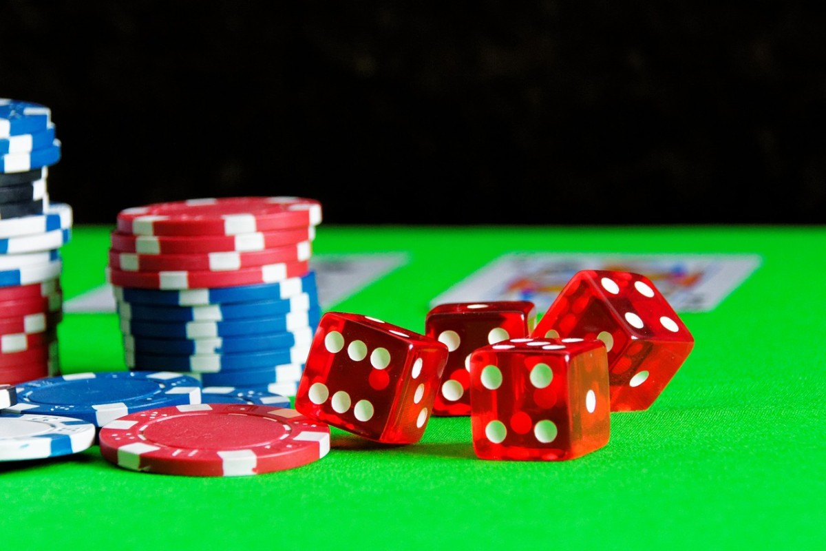 Poker chips dices